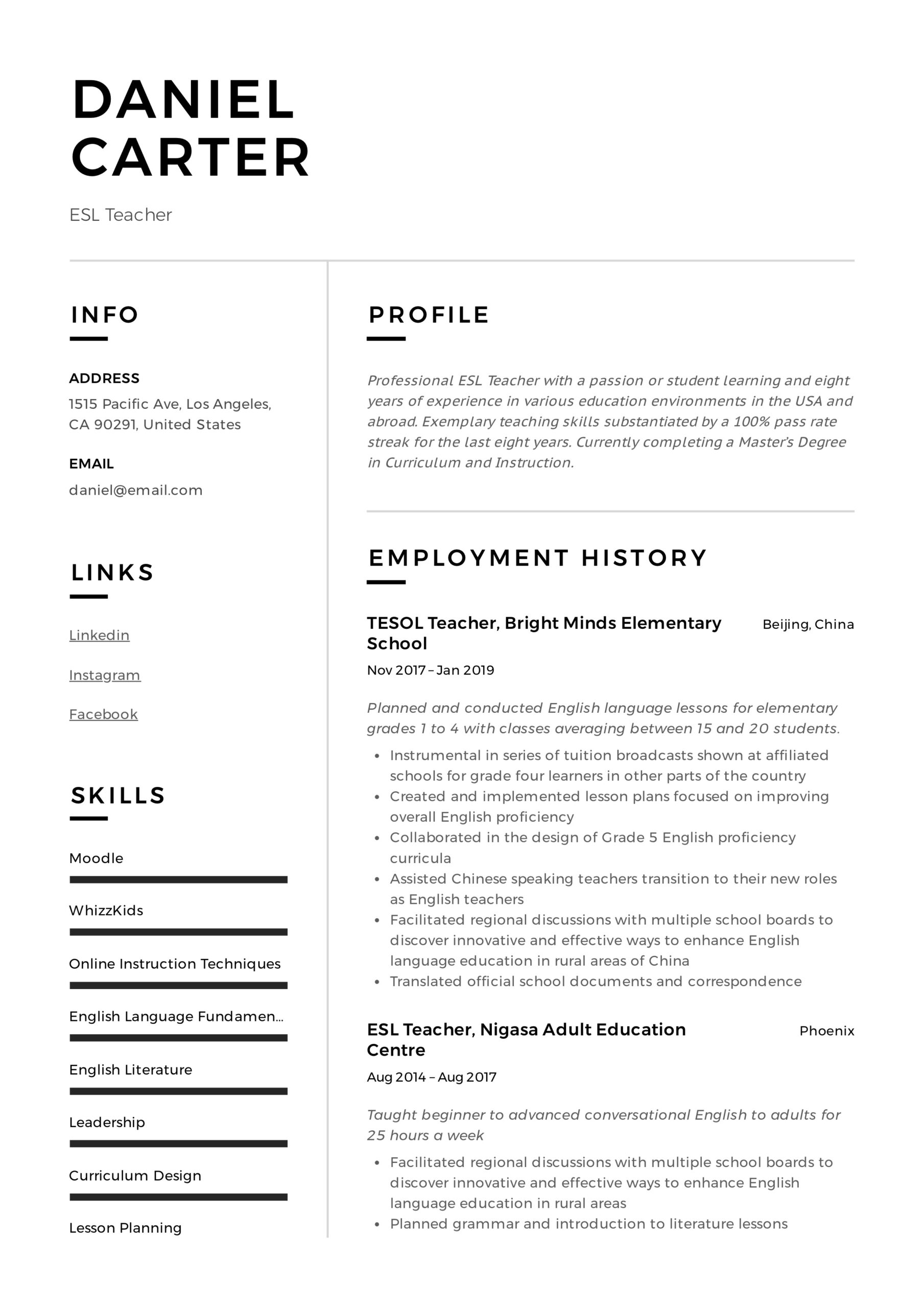 esl teacher resume examples writing guide listing languages on example vmware and windows Resume Listing Languages On A Resume