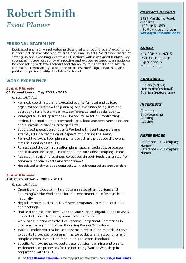 event planner resume samples qwikresume planning skills for pdf tandon careers considered Resume Planning Skills For Resume