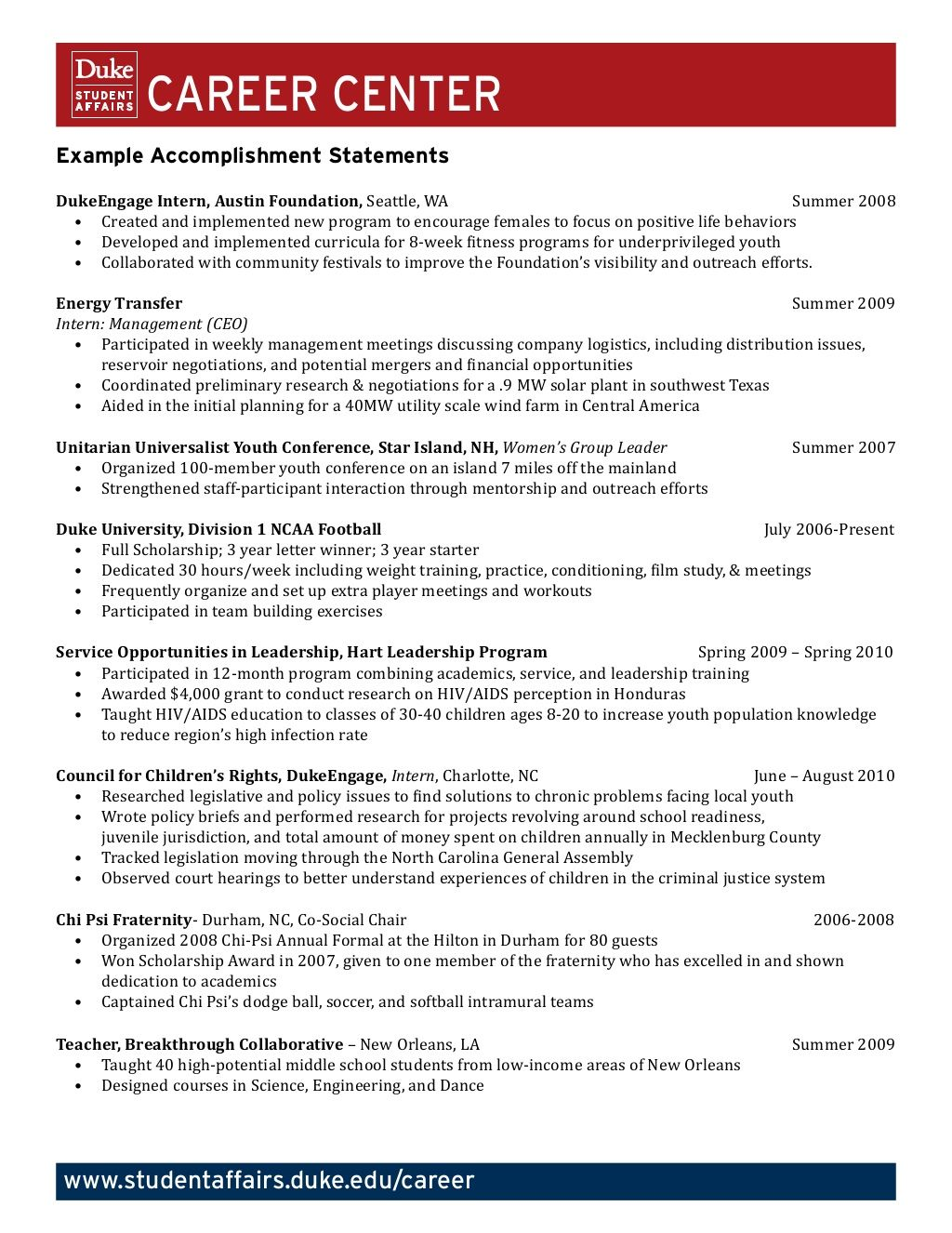 example accomplishment statements career counseling resources good resume examples Resume Career Achievements Resume Samples