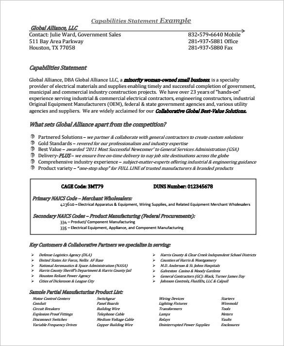 example capability statement free template project proposal resume capabilities sample Resume Resume Capabilities Sample