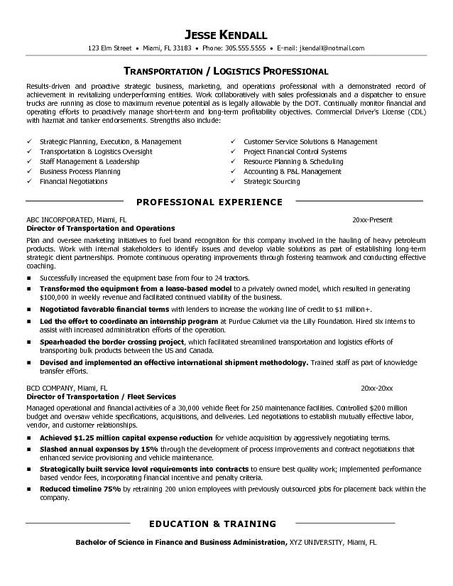 example director of transportation resume free sample medical assistant objective Resume Director Of Transportation Resume