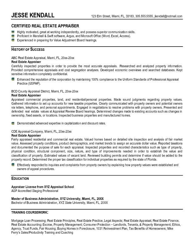 example estate appraiser resume free sample good objective for examples assistant sewing Resume Appraiser Assistant Resume