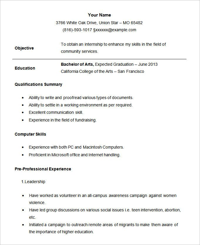 example of resume format for student template job examples best templates students Resume Best Resume Templates For Students