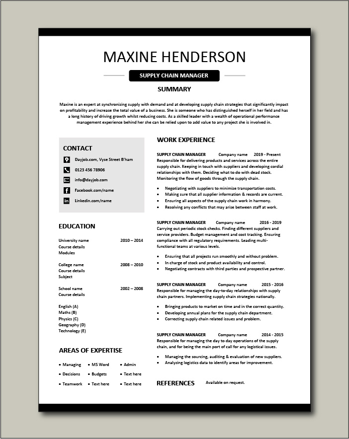 example of supply chain manager cv template logistics suppliers job description resume Resume Supply Logistics Resume