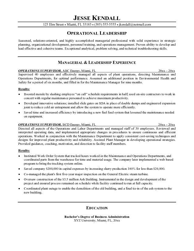 example operations supervisor resume free sample objective writing tips samples format Resume Supervisor Resume Objective Samples