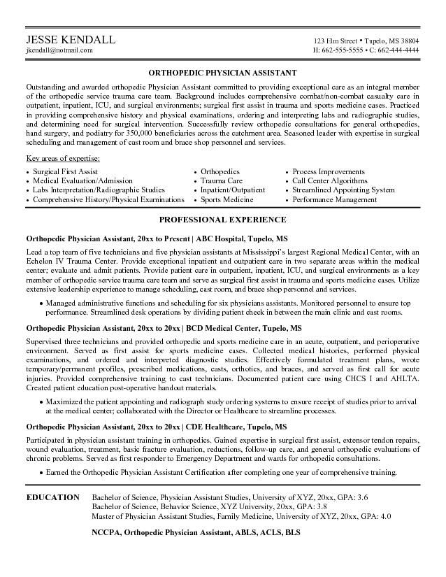 example orthopedic physician assistant resume free sample medical no experience examples Resume Surgical Assistant Resume Sample