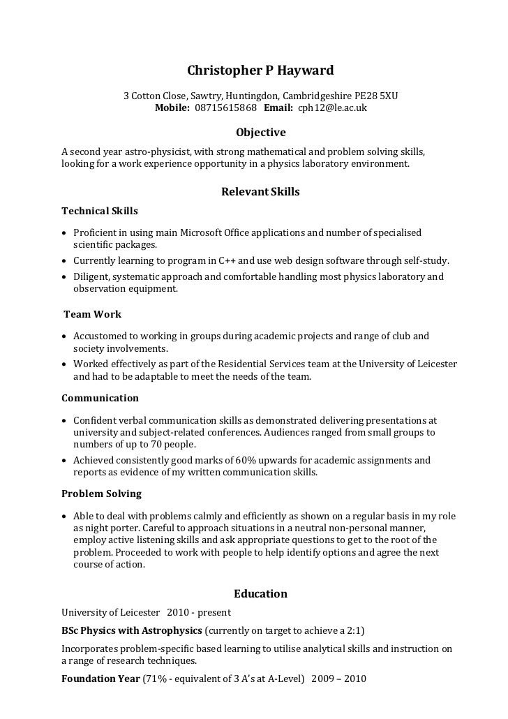 example skills based cv resume that sells strength of student for foreign exchange Resume Skills Based Resume Example