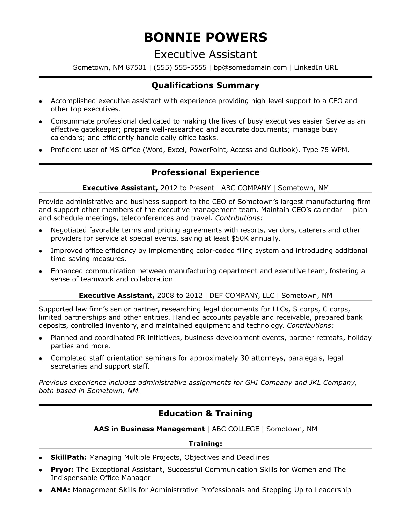 executive administrative assistant resume sample monster professional bullets examples Resume Professional Administrative Assistant Resume