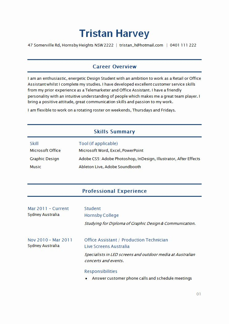 executive assistant resume best of image result for simple student template college Resume College Resume Examples 2020