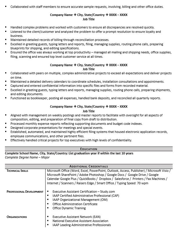 executive assistant resume example tips to writing one description easy template etl Resume Executive Assistant Description Resume