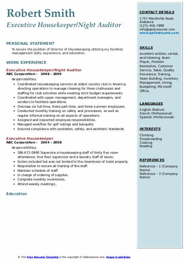 executive housekeeper resume samples qwikresume job description pdf hopping example Resume Executive Housekeeper Job Description Resume