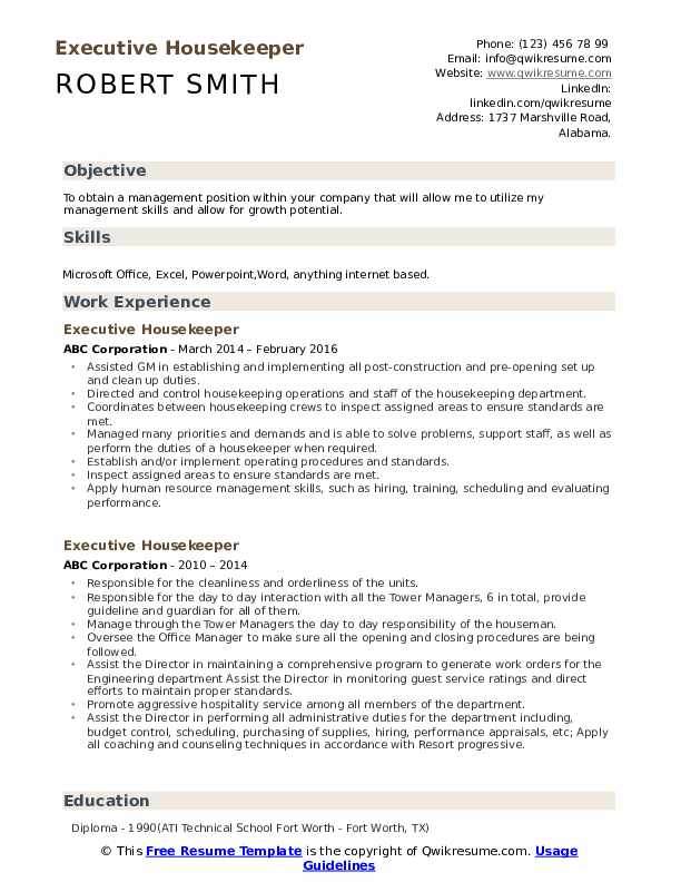 executive housekeeper resume samples qwikresume job description pdf maintenance Resume Executive Housekeeper Job Description Resume