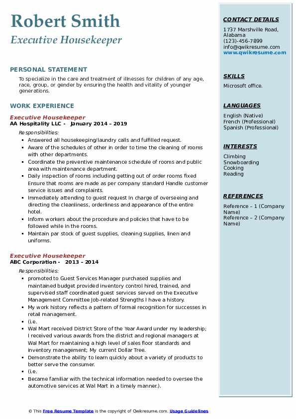 executive housekeeper resume samples qwikresume objective pdf clean template word Resume Executive Housekeeper Resume Objective