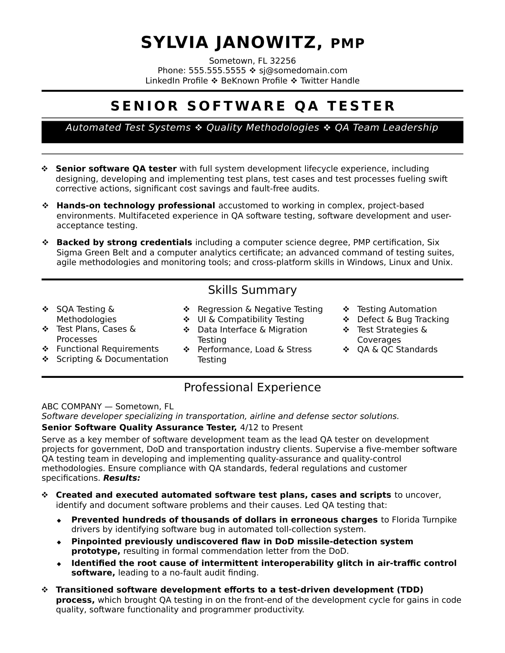 experienced qa software tester resume sample monster test engineer fast food manager for Resume Software Test Engineer Resume