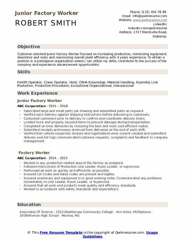 factory worker resume samples qwikresume objective for manufacturing position pdf cover Resume Resume Objective For Manufacturing Position