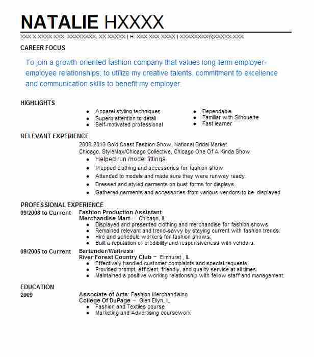 fashion assistant resume example vogue brooklyn new apparel production or nurse waitress Resume Apparel Production Assistant Resume