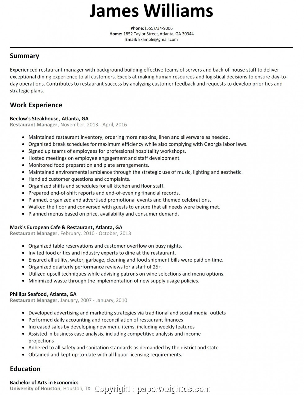 fast food manager resume free templates should education come before experience on fedex Resume Fast Food Manager Resume