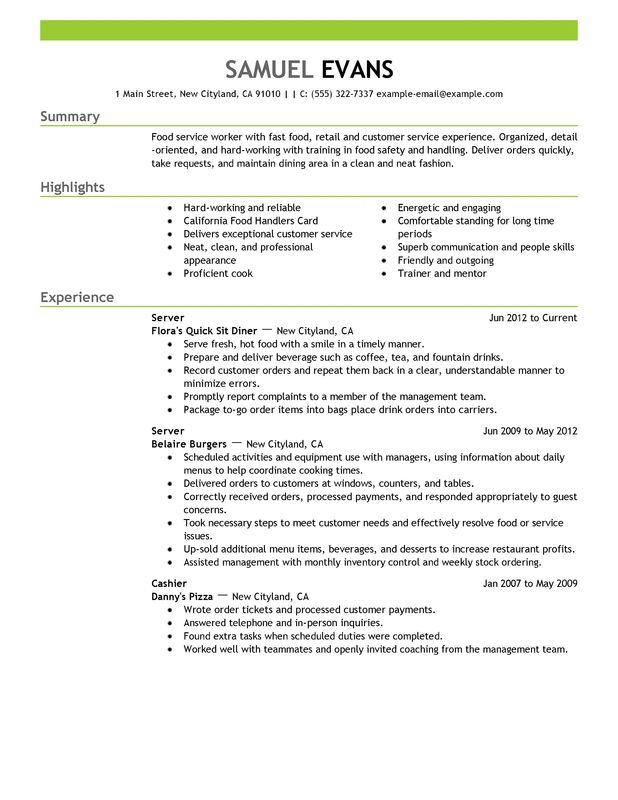 fast food server resume examples free to try today myperfectresume sample Resume Sample Server Resume Responsibilities