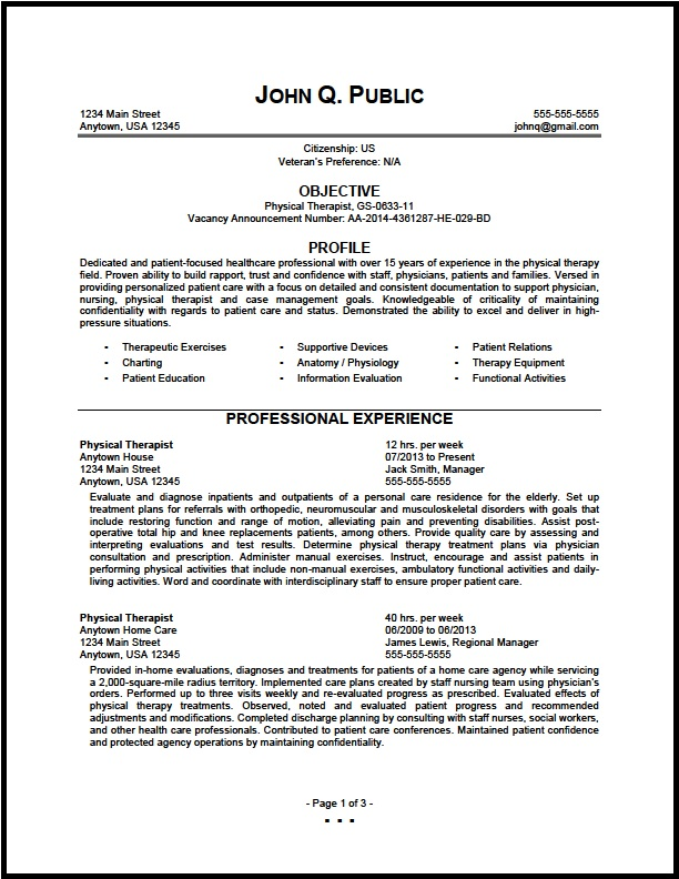 federal physical therapist resume sample the clinic therapy examples skills and abilities Resume Physical Therapy Resume Examples