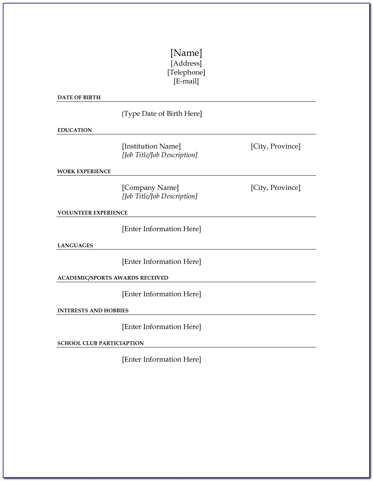fill in the blank resume template for high school students vincegray2014 functional style Resume Blank Resume Template For High School Students