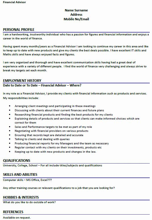 financial advisor resume example awesome cv icover advisors best cover letter examples Resume Financial Advisor Job Description For Resume