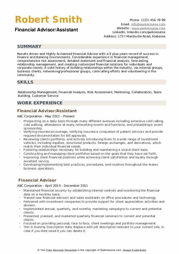 financial advisor resume samples qwikresume bank pdf job meaning call center template Resume Bank Financial Advisor Resume