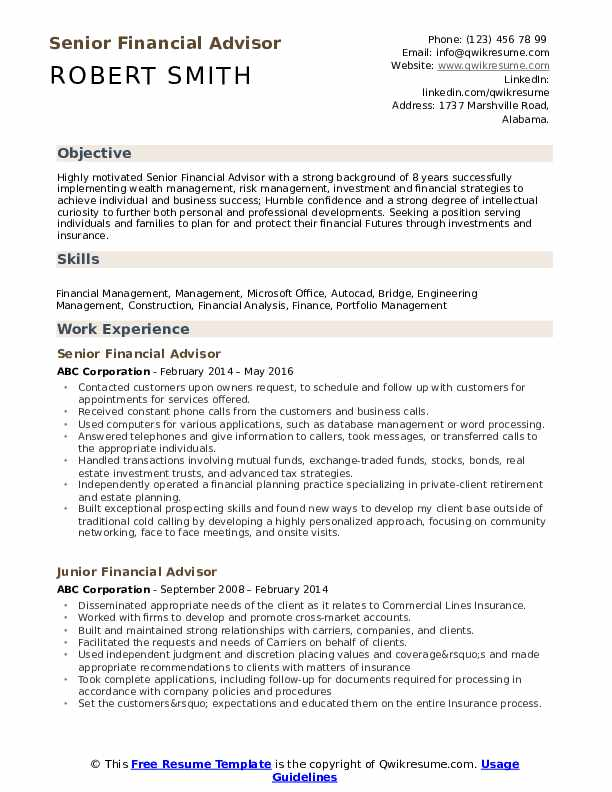 financial advisor resume samples qwikresume job description for pdf achievements teenager Resume Financial Advisor Job Description For Resume