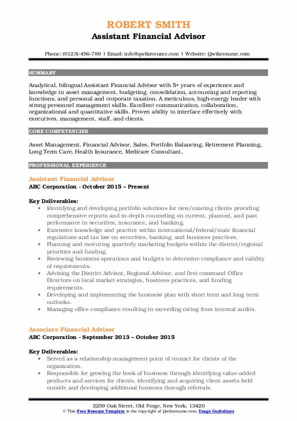 financial advisor resume samples qwikresume job description for pdf cara hantar melalui Resume Financial Advisor Job Description For Resume