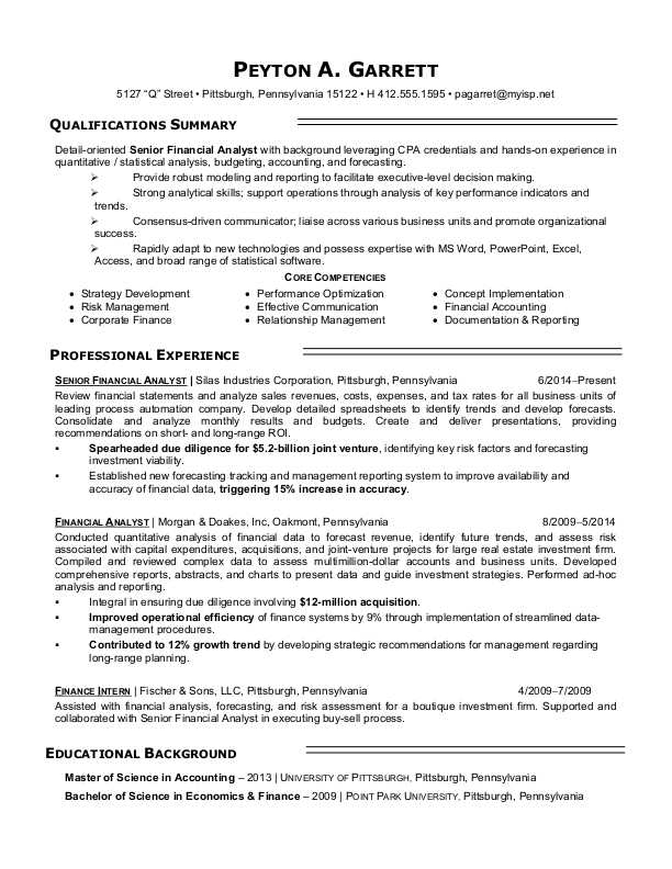 financial analyst resume sample monster examples modern layout manager job duties for Resume Analyst Resume Examples