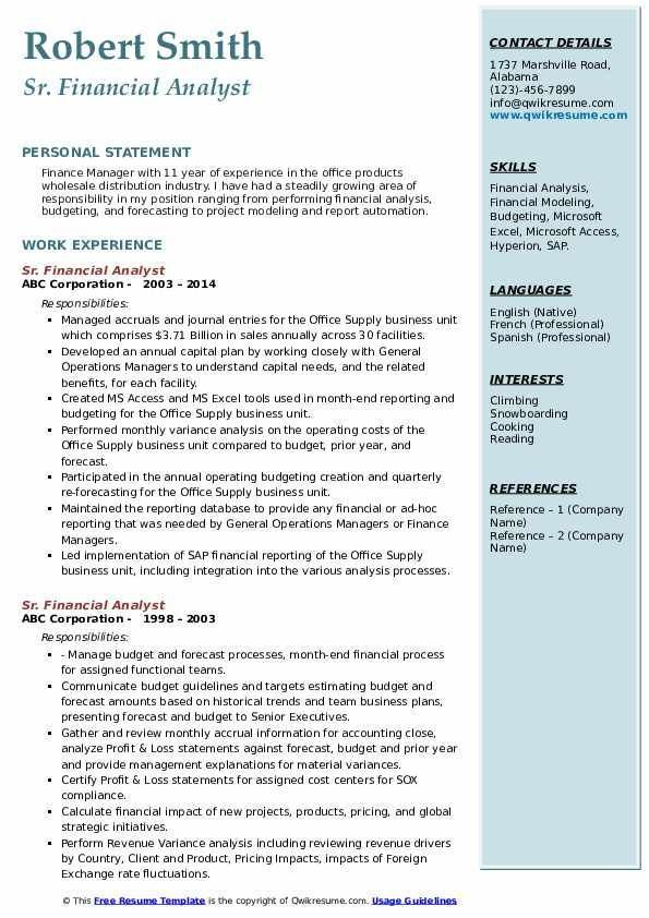 financial analyst skills resume free templates analysis of sr samples experienced Resume Financial Analysis Skills Resume