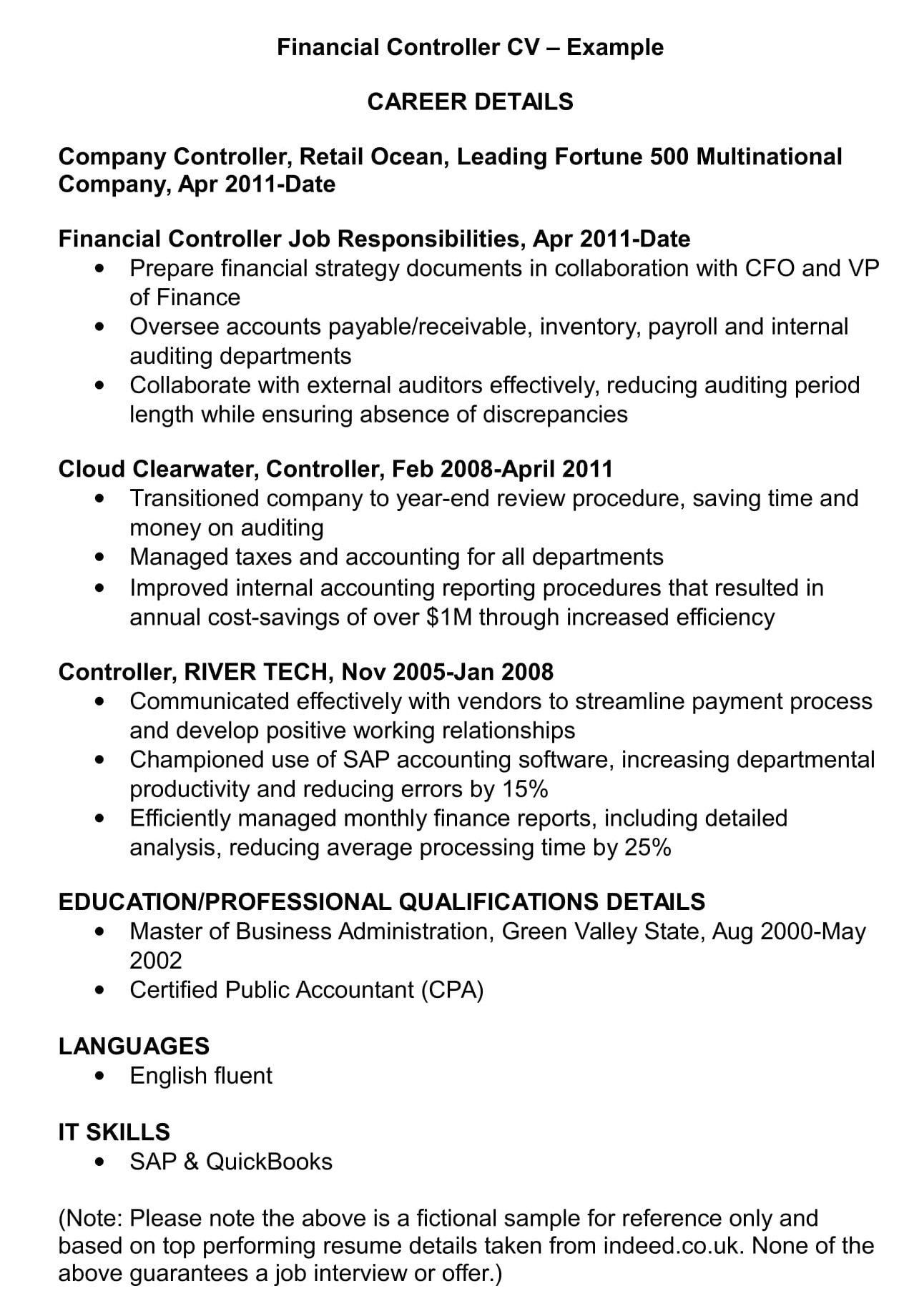 financial controller cv template and examples renaix resume word example writing services Resume Controller Resume Template Word