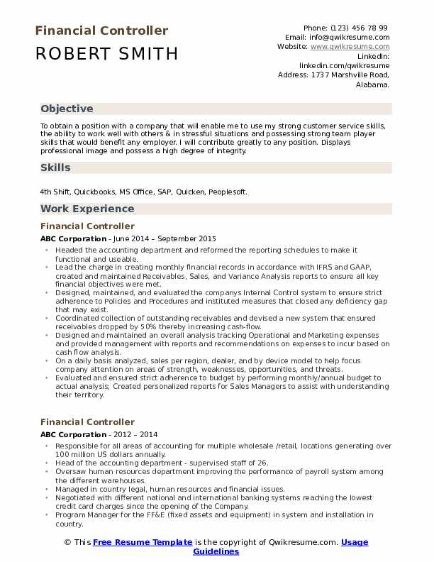 financial controller resume samples qwikresume template word pdf two sided monster center Resume Controller Resume Template Word