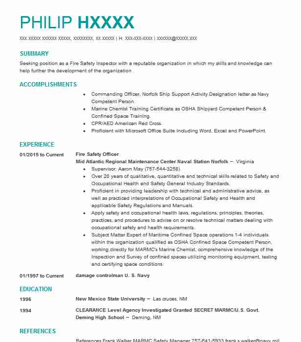 fire safety officer resume example resumes livecareer sample for freshers senior Resume Safety Officer Resume Sample For Freshers