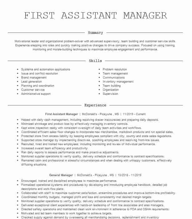 first assistant manager resume example burger crescent city police officer skills create Resume Burger King Assistant Manager Resume