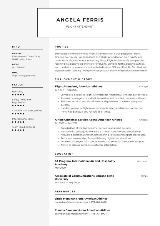 flight attendant resume examples writing tips free guide io format for juicer job Resume Resume Format For Flight Attendant