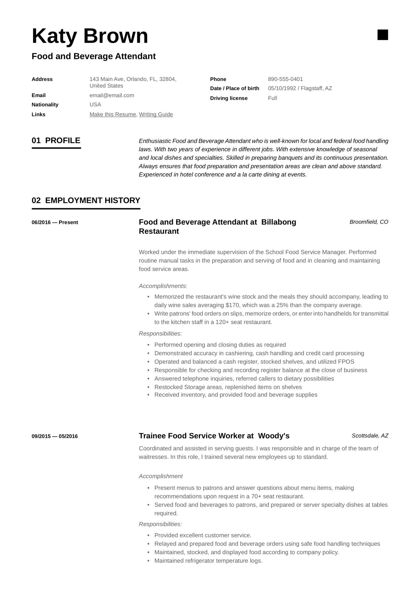 food and beverage attendant resume examples word pdf service scaled free addendum Resume Food Service Attendant Resume
