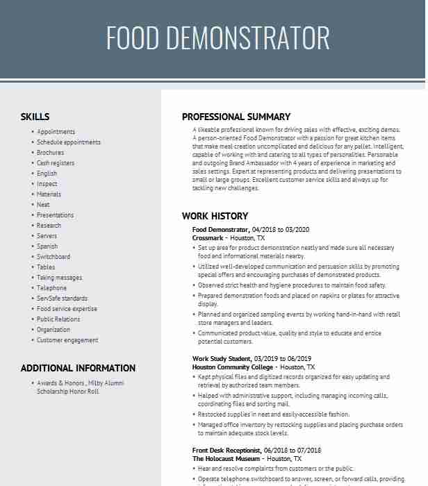 food demonstrator resume example in costco cds selah product paraprofessional skills and Resume Product Demonstrator Resume