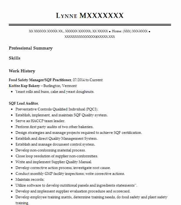 food safety auditor resume example sai global van nuys objective skills and abilities for Resume Food Safety Resume Objective