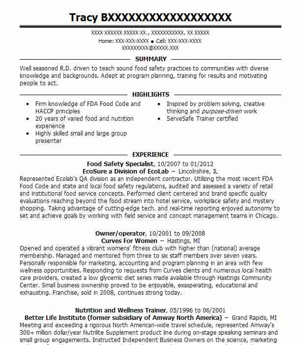 food safety specialist resume example resumes livecareer objective data analyst summary Resume Food Safety Resume Objective