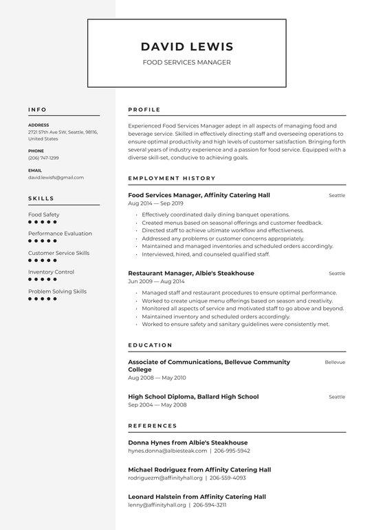 food services manager resume examples writing tips free guide io skill set for avon Resume Skill Set Examples For Resume