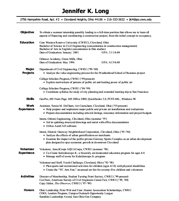 for intern resume objective format internship professional layout another word Resume Internship Resume Objective