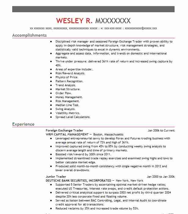 foreign exchange trader resume example livecareer trading school letter change management Resume Foreign Exchange Trading Resume