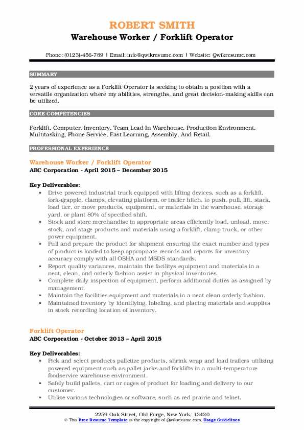 forklift operator resume samples qwikresume certification on pdf usajobs federal template Resume Forklift Certification On Resume