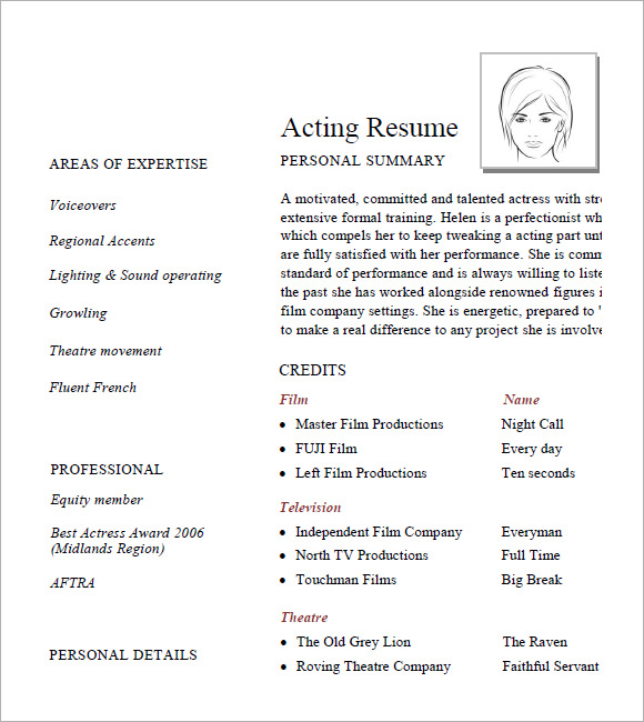 free acting resume templates in samples pdf ms word publisher template google docs typo Resume Acting Resume Template Google Docs