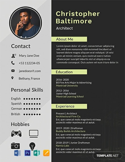 free architect resume cv template word apple mac publisher architecture student 440x570 Resume Architecture Student Resume