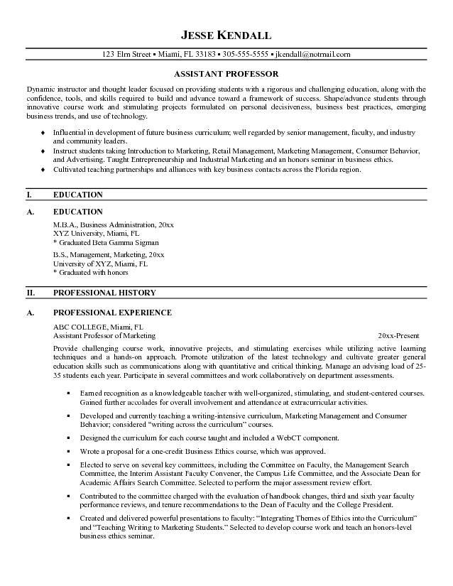 free assistant professor resume example college template teaching sample for position Resume Sample Resume For Professor Position