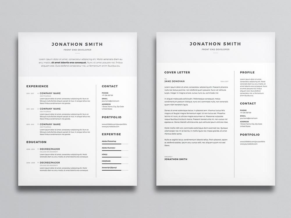 free clean and minimal resume cv template with cover letter in photosh creativebooster Resume Minimalist Resume Sample
