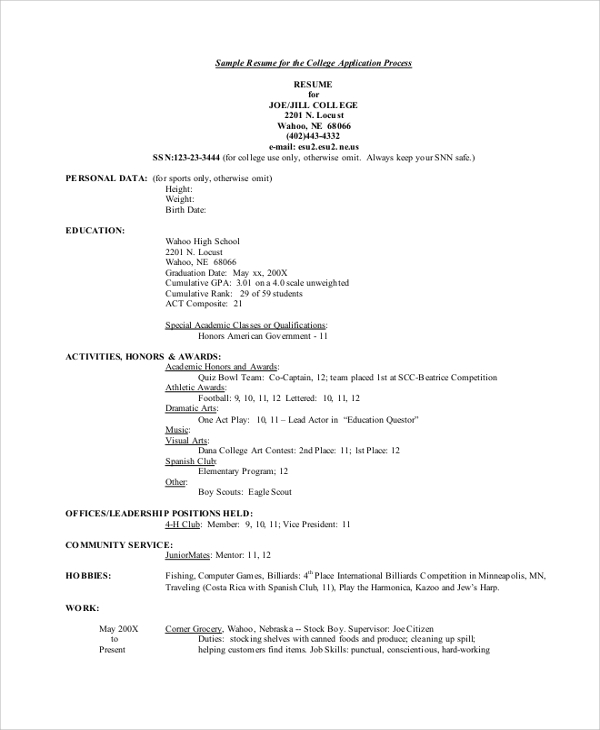 free college resume templates in pdf ms word format for university admission application Resume Resume Format For University Admission