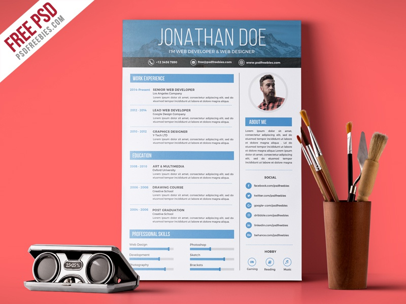 free creative graphic designer resume template by freebies on dribbble for great sample Resume Resume For Graphic Designer Free Download
