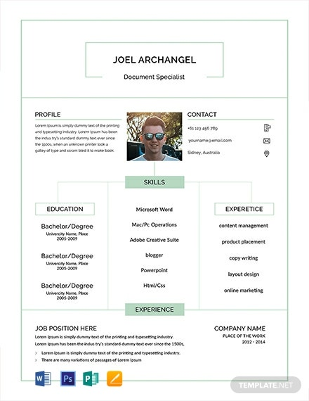 free document specialist resume cv template word apple mac publisher sample 440x570 Resume Document Specialist Resume Sample